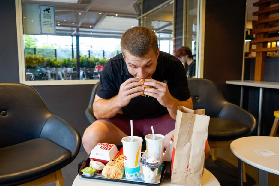Man eating macdonalds