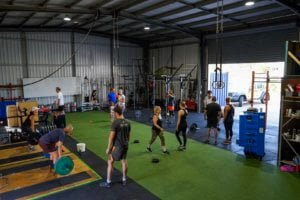group training in fitness gym space